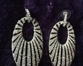 Pave huge rhinestone door knocker crystal oval earrings pierced silvertone