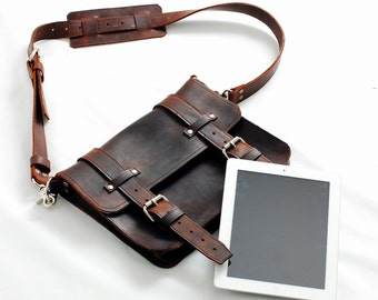 Leather satchel, Leather Ipad Bag, Leather Tablet Bag, Clutch, Mens gifts, Womens Gifts - Handmade in the U.S.A.