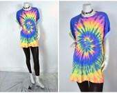 90s rainbow neon tie dye oversized tee shirt