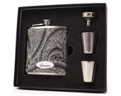 Flask for women // Black paisley flask gift set with shot cups, funnel and gift box