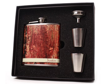 Personalized Flask // Faux Wood Flask Gift Set // Rustic