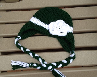 Michigan State Hat/Green and White Earflap Hat with braids and button on detachable flower for boy or girl (fits babies, toddlers, children
