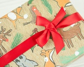 Christmas Wrapping Paper with tags - Woodland Christmas animals wrap set, fox, owl, reindeer, deer and robin