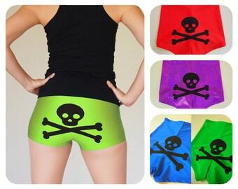 Colourful Skull and Crossbones Roller Derby Shorts - Pre-Order