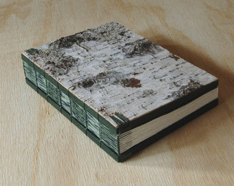 birch bark wood wedding guest book or journal - rustic cabin memorial guest book unique wedding anniversary book lover gift - made to order
