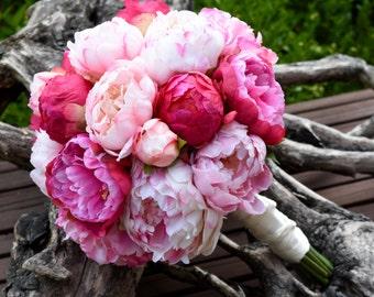 Blush Pink and Fuchsia Peony Wedding Bouquet - PARISIAN PINKS, Bridal bouquet, Silk peony bouquet, Wedding bouquet, Destination wedding.