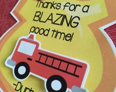 FIRE TRUCK Birthday Party or Baby Shower Favor Gift or Sticker Tags