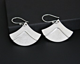 Modern Rounded Triangular Light Weight Geometric Design Dangle Earrings Sterling Silver Handmade
