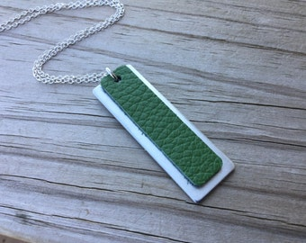 Green Leather and Silver Necklace- Metal and Leather Necklace