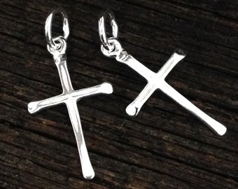 NEW Sterling Silver Cross Charms  - Smooth and Shiny - 2 Perfect Earring Dangles or Pendants 21mm Tall C192