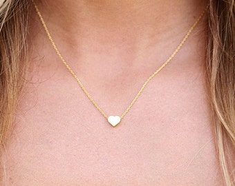 Valentines Tiny Heart Necklace available in Gold or Silver, Heart Choker,  Anniversary Gift, Bridesmaid Necklace