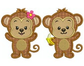 MONKEY 1 - Machine Applique Embroidery - 2 Patterns in 3 Sizes - Instant Digital Download