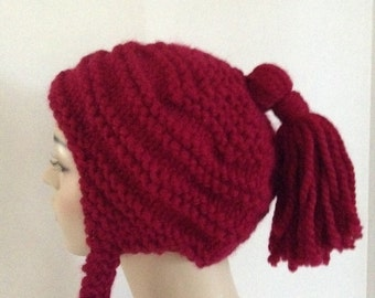 Hand Knit Earflap Hat, women's hat, tassle hat, Holiday gifts, cranberry hat