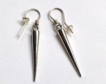 Long Dangle Silver Earrings, Sterling Silver Earrings, Simple earrings, Minimalist Spike Earrings, Silver Spike Earrings, Dangle Earrings