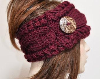 Earwarmer Cabled Ear Warmer Winter Crochet Headband Chunky Ear warmer CHOOSE COLOR Burgundy Warm Hair Band Christmas Gift