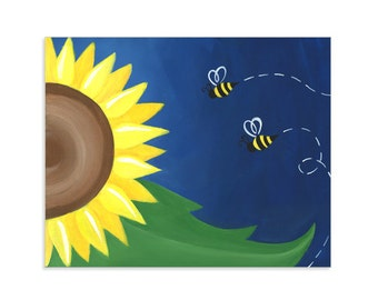 Sunflower and Bees Colorful Print