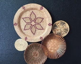 1970's large southwestern woven straw wall hanging basket / flower / star