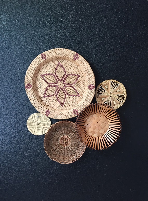 Straw Flower Hanging Baskets : S large southwestern woven straw wall hanging basket