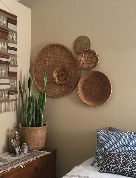 Rattan Wall Decor Round : Giant flat round shallow bamboo rattan basket wall