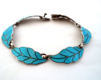 Vintage Margot de Taxco, 5401 Sterling Enamel Link Bracelet 5401