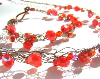 Wire crochet jewelry set  coral red on bronze copper rustic wire crochet casual beaded jewelry  Czech Glass - CR0015