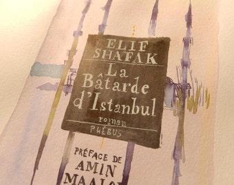 Original Watercolor - Book cover Elif Shafak-watercolor book-book painting-book drawing-book lover