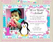 Penguin 1st Birthday Invitation Winter ONEderland Snowflake birthday invitation invite 2nd birthday photo picture pink  aqua - DIY printable