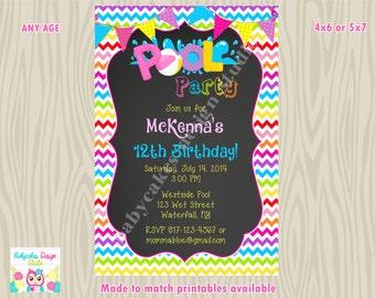 Pool Party birthday Invitation invite, Pool party invitation invite rainbow Chevron chalkboard printable DIY digital