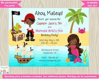 Pirate and MERMAID invitation invite, pirate mermaid birthday Party Invitation Invite, under the sea, Dark skin African American Printable