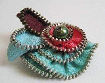 Baby Blue Flower Zipper Brooch Pin