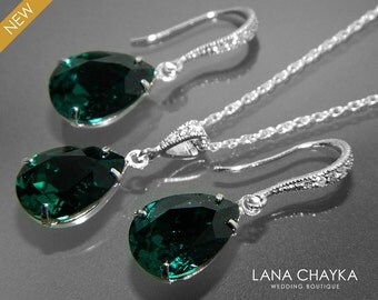Emerald Crystal Jewelry Set Green Earrings&Necklace Set Swarovski Teardrop Rhinestone Sterling Silver Set Wedding Bridal Bridesmaid Sets