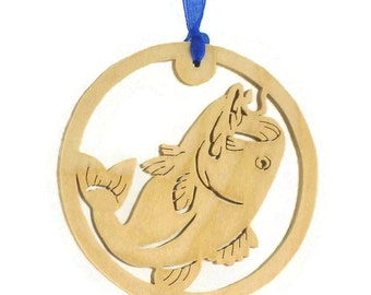 Bass Fish Fishing Christmas Ornament Handmade From Birch Wood For the Fisherman, Outdoorsman, Sportsman