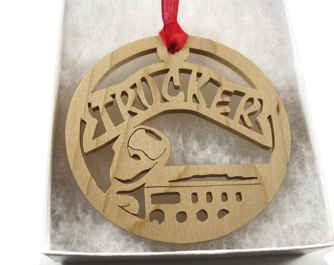 Trucker Truck Driver Christmas Ornament With CB Radio Handmade From Maple Wood By KevsKrafts BN-002-6