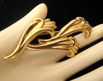 Vintage GIVENCHY Gold Tone Wave Brooch