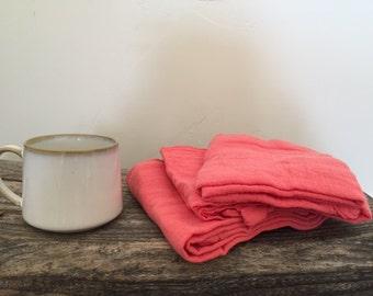 Coral Cotton Tea Towels set of 3