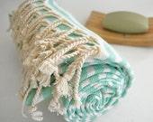 SALE 50 OFF/ Turkish Beach Bath Towel Peshtemal / Egg Blue Striped / Bath, Beach, Spa, Swim, Pool Towels