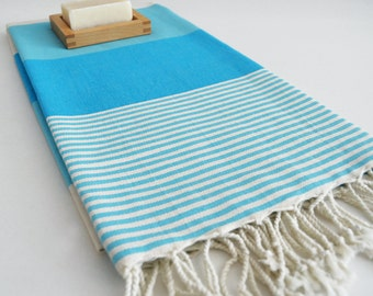 SALE 30 OFF/ Turkish Beach Bath Towel / Classic Peshtemal / Blue / Wedding Gift, Spa, Swim, Pool Towels and Pareo