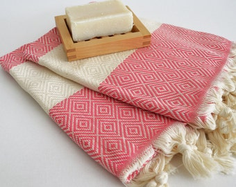 SALE 50 OFF/ Head and Hand Towel / Diamond Style / Pink / SET / 2 Towels
