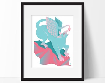 Gryphon of Alice in Wonderland Art Print, Griffin Illustration, Childrens Art, Nursery or Kids Room Decor