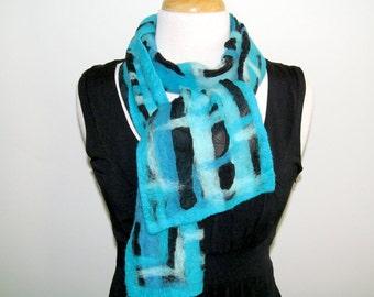 Turquoise abstract fiber painting, nuno felt scarf
