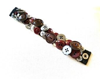 SALE Silver Gray Maroon Button Bracelet