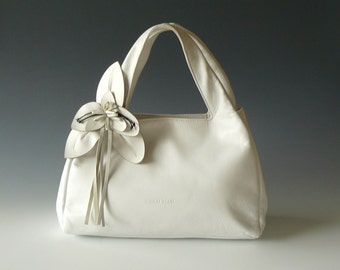 Authentic Paolo Masi Handmade White Leather Petite Tote Bag Made in Italy