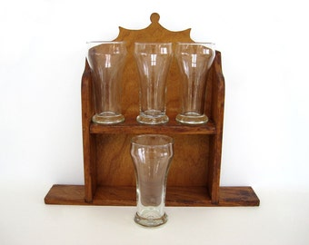 Vintage Beer Glasses Pilsner Glass Set of 4 Heavy Weighted Base LIbbey Micro Gift  Small Barware 8 Oz