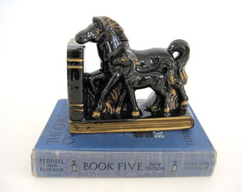 Mid Century Horse Bookend Figurine Black Gold Ceramic Figural Mother and Baby Colt Foal Filly Set Office Decor