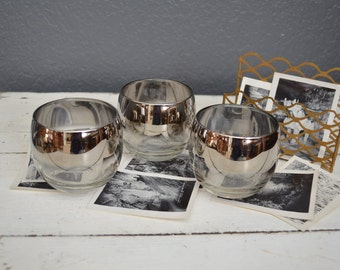 Set of Three Roly Poly Vintage Glasses - Dorothy Thorpe Glassware - Silver Rimmed Barware - Mad Men Style Cups