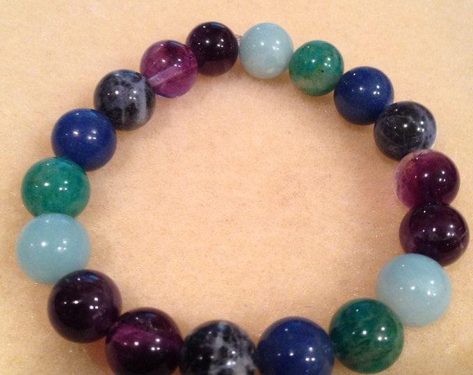 PEACOCK: Amazonite, Russian Amazonite, Blue Aventurine, Sodalite, Dark Purple & Light Purple Amethyst 10mm Round Bead Stretch Bracelet