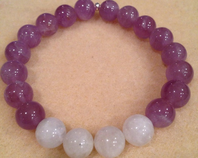 Lavender Moon Lilac Amethyst & Rainbow Moonstone 10mm Round Stretch Bead Bracelet with Sterling Silver Accent