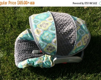 Summer SALE Medallion fabric with Gray minky- Infant car seat cover- Custom Order Comes with Free Strap Covers
