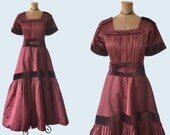1910s Burgundy Dress size S