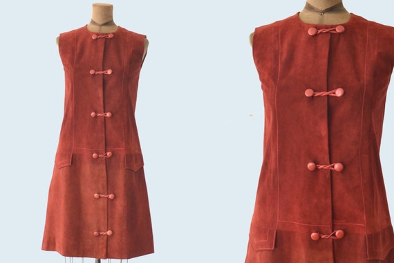 1960s Mod Burgundy Suede Dress size S